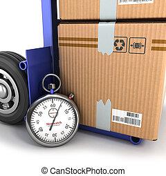 concept, de, livraison rapide, boîte, sur, les, camion, et, les, chronomètre, à côté de, les