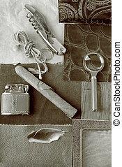 concept, de, vendange, objets