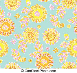 Concept decorative Marigold flower 60s style background. floral vector seamless pattern for surface design, fabric, wrapping paper