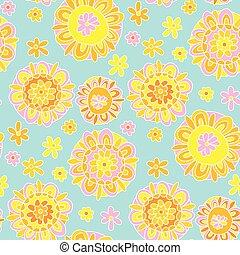 Concept decorative Marigold flower 60s style background. ...