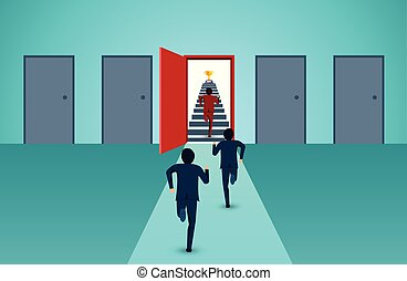 concept., degrau, caricatura, vermelho, liderança, finanças, ir, startup., vetorial, criativo, cor sucesso, negócio, homens negócios, executando, goal., porta, idea., competição, cima, ilustração