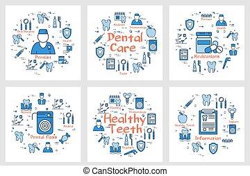concept, dentaal, set, gezondheid, banieren