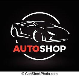 Concept design of a super sports vehicle car auto shop logo.