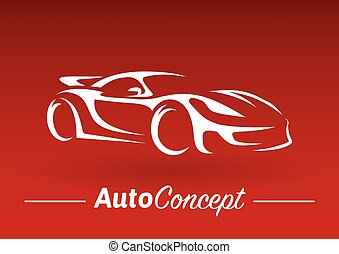 Concept design of a super sports vehicle car silhouette on red background.