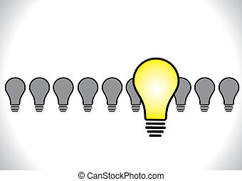 Concept Design vector illustration of Idea Leadership or selected idea with bright yellow glowing light bulb stand ahead of dull colored bulbs standing in a row at the back