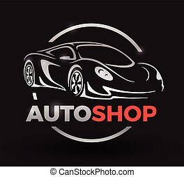 Concept design with chrome sports car vehicle auto shop logo.