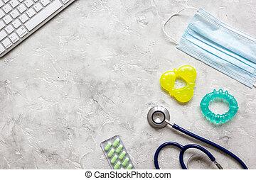concept desktop children doctor top view
