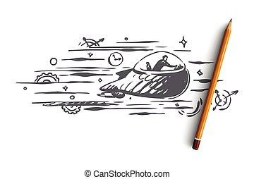 concept., dessiné, vector., temps, voyage, main, passé, avenir, machine temps, isolé