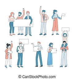 concept., dessin animé, activisme, vecteur, tenue, illustration., gens, démonstration, vote, affiches, protestation