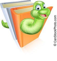 concept, dessin animé, rat bibliothèque