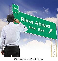concept, devant, texte, signe, risques, route