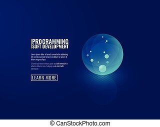 Concept development of new technologies icon transparent luminous ball isometric vector