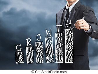 concept, diagramme croissance, homme, écriture