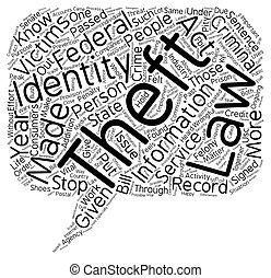 concept, diefstal, tekst, wordcloud, achtergrond, wet, identiteit