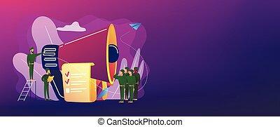 concept, dienst, header., militair, spandoek, compulsory