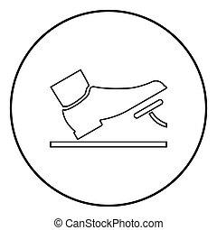 concept, dienst, kleur, auto, voortvarend, gas, illustratie, black , pedaal, voet, rem, cirkel, ronde, pictogram