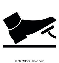 concept, dienst, kleur, auto, voortvarend, gas, illustratie, black , pedaal, voet, rem, pictogram