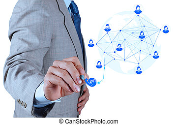 concept, dienst, werkende , tonen, moderne, computer, zakenman, nieuwbouw, netwerk