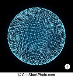 concept., digital, 3d, sphere., technologie, global, ...