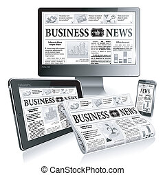Concept - Digital News - Digital News Concept with Business...