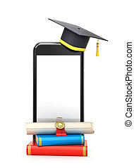 concept, diplôme, illustration, placé, livres, étudiant, ligne, chapeau, learning., smartphone., 3d