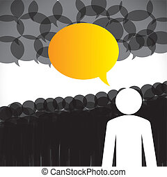 concept, &, discussie, -, vector, aanhangers, bewindvoering, leider