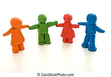 concept, diversité, coloré, gens, -, unité, argile