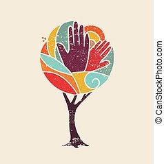 concept, diversité, gens colorent, arbre, mains