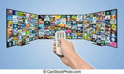 concept, divertissement, tv, multimédia, ruisseler, internet, intelligent