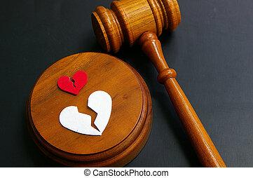 concept, divorce, -, cassé, marteau, cœurs