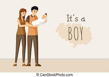 concept., doccia, scheda, affiatamento, esso, giorno, invito, vettore, parenting, bambino, genitori, ragazzo, felice, design.