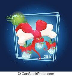 concept, dog, lint, boog, gelul, been, decoraties, jaar, nieuw, kerstmis, rood, 2018