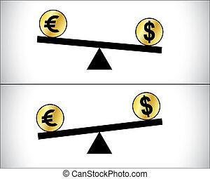 concept, dollar, global, -, deux, illustration, la plupart, américain, forex, commerce, traded, entre, fluctuations, européen, devises, euro