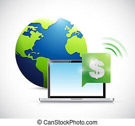 concept, dollar, illustration, monnaie, conception, ligne