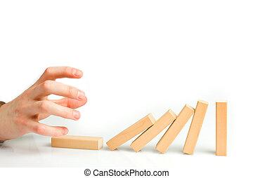 concept, domino, solution, effet, arrêt, problème