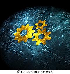 concept:, données, engrenages, fond, numérique