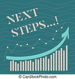 concept, donner, texte, suivant, stratégie, signification, plan, guideline., suivre, écriture, mouvements, directions, steps.