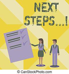 concept, donner, texte, suivant, stratégie, signification, plan, guideline., suivre, écriture, écriture, mouvements, directions, steps.