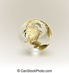 concept), doré, (global, globe, communication