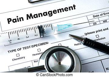 concept, douleur, fonctionnement, docteur, monde médical, main, gestion