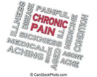 concept, douleur, image, chronique, questions, fond, mot, nuage, 3d