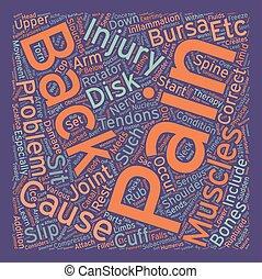 concept, douleur, texte, dos, wordcloud, fond, blessures