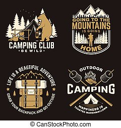 concept, doux, conception, guimauves, montagne, chemise, camping, vendange, silhouette., forêt, vector., logo, heureux, lanterne, feu camp, tente, crosse, cabine, impression, stamp., camper., ou