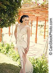 concept., dress., sensual, mulher, casório, maquilagem, woman., ela, hair., simplesmente, deslumbrante, elegante