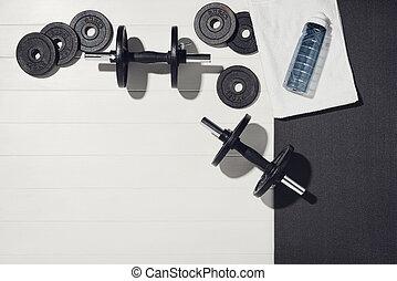 concept., drewniany, dom, trening, sport, biały, wyposażenie, tło