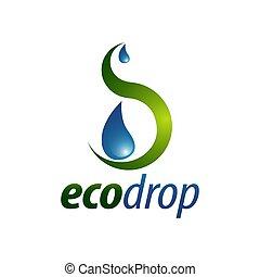 concept, drop., eco, résumé, goutte, illustration, eau, conception, gabarit, logo