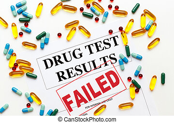 concept drug test results are failed with pills - concept ...