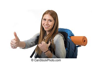 concept, duim, geven, schooltas, vakantie, op, verdragend,...