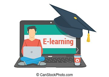 concept e-learning, man sitting on laptop