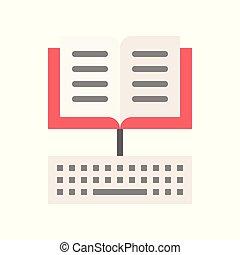 concept, e, livre, apprentissage, clavier, icône, ouvert